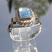 Sterling/9kt Rose Gold Blue Topaz Emerald Cut Ladies Ring