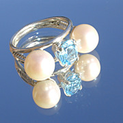 Sterling Freshwater Pearl and Blue Topaz Ladies Ring