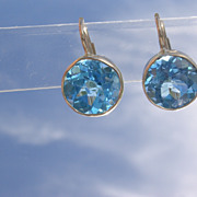 14kt Yellow Gold Deep Blue Topaz Dangle Earrings