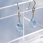 14kt White Gold Blue Topaz Briolette Droplet Earrings
