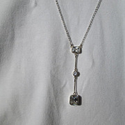 Sterling Silver Rectangular and Round Multi Cubic Zirconia Necklace