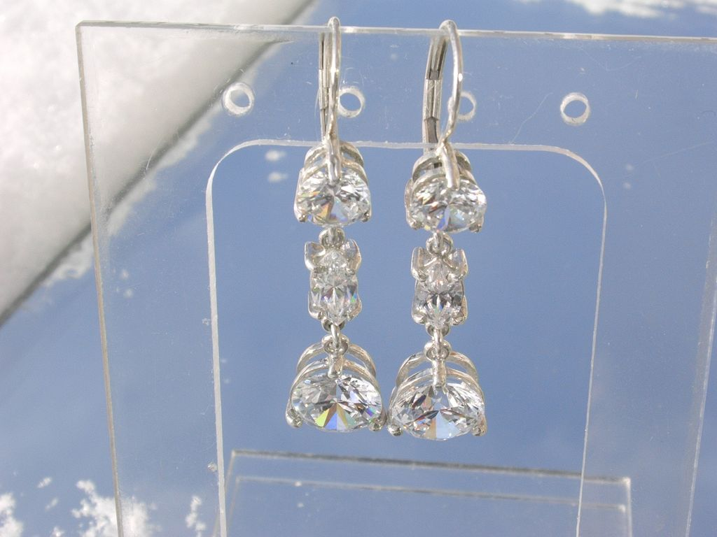 Sterling  Flashing Cubic Zirconia Triple Dangle Earrings