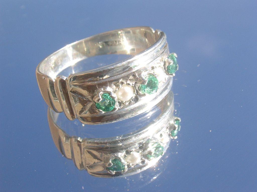 Sterling Multi Emerald/Seed Pearl Ladies Ring