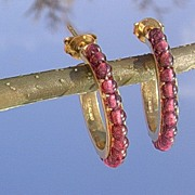 Sterling/Vermeil Garnet HOOP Earrings
