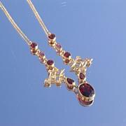 14kt Luxurious Multi Shade Garnet Ladies Necklace