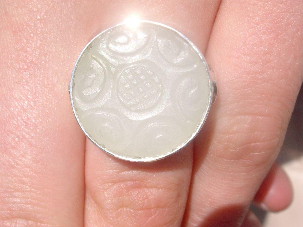 Sterling Round Patterned Jade Ladies Ring
