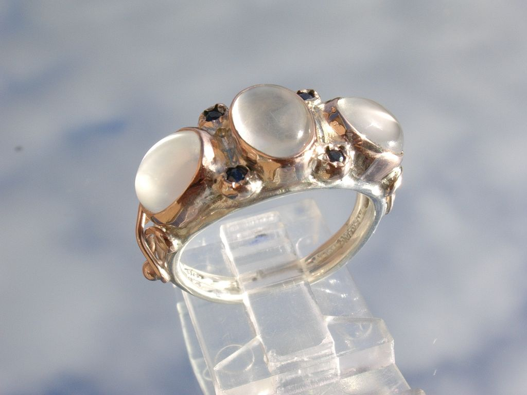 Sterling/9kt Gold Triple Moonstone/Multi Sapphire Ladies Ring