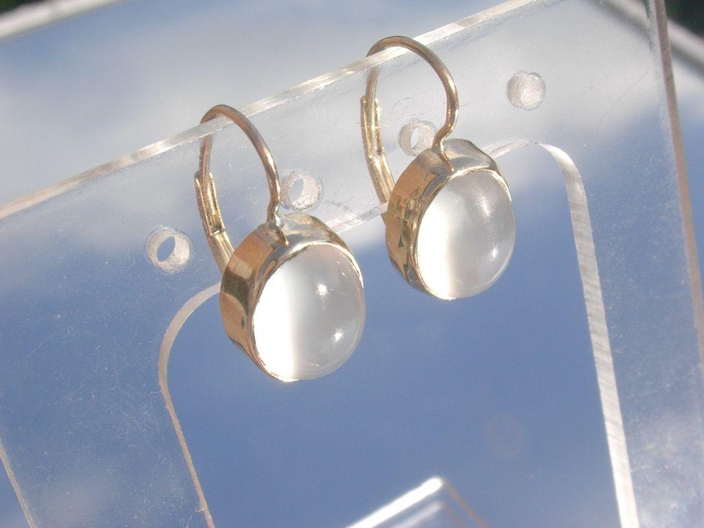 14kt Dangle Semi-Translucent Grey Moonstone French Back Closure Earrings