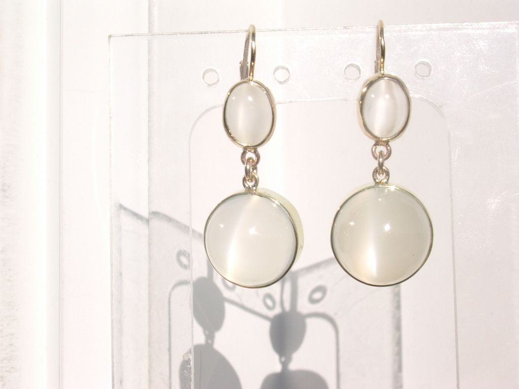 14kt Oval & Round Luminous Grey Dangle Moonstone Earrings