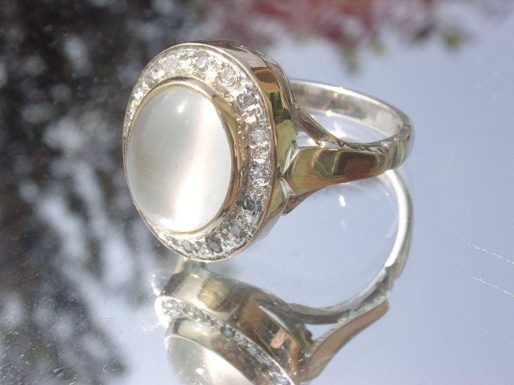 Sterling/10kt: Grey Moonstone/Multi Diamond Ladies Ring