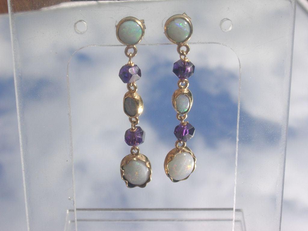 14kt: Dangling Fiery Multi Opal and Amethyst Earrings