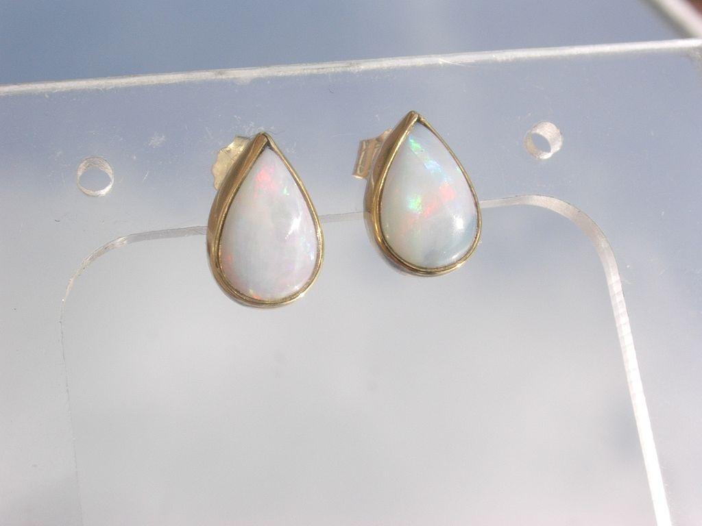 14kt Fiery Opal Pear Shape Stud Earrings