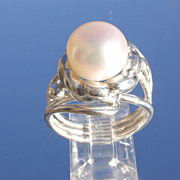 Sterling Large Freshwater Pearl Floral Ladies Ring