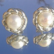 Sterling Freshwater Pearl Floral Stud Earrings