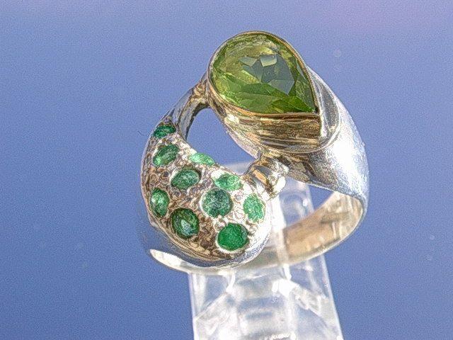 Sterling/10kt Peridot /Multi Emerald Ladies Ring