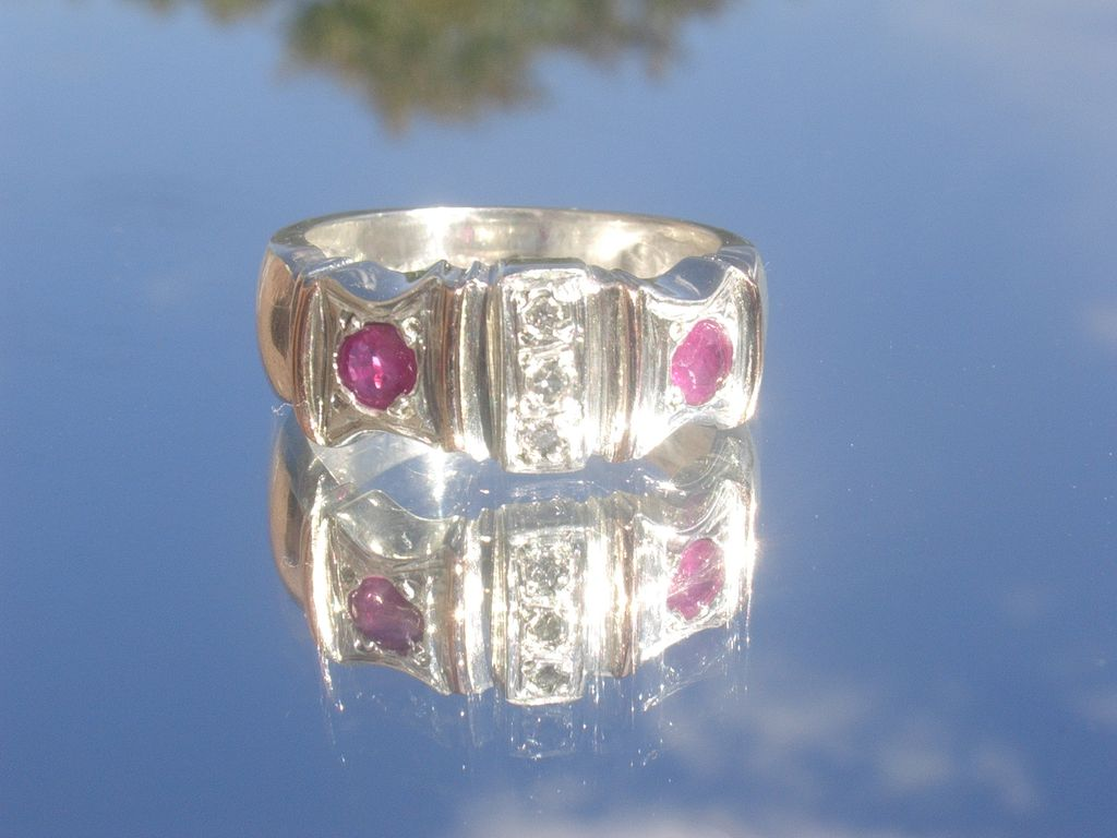 Sterling/9kt Ruby Red/Multi Diamond Unisex Ring