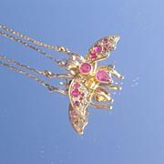 10kt-9kt Multi Ruby/Diamond Insect (FLY) Necklace