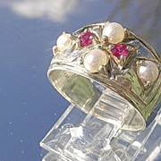 Sterling Artisan Multi Ruby and Freshwater Pearl Ladies Band/Ring