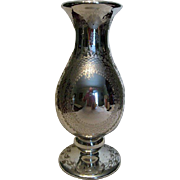 Large Antique Mercury Footed Vase with Etched Floral Design