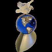 Swarovski Crystal Millennium Peace Dove with Globe on Stand