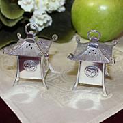 Rare Heavy Sterling Pagoda Lanterns Salt Pepper Shakers Vintage Japanese Solid Silver Pepper Pots Circa 1950