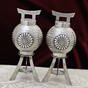 Sterling Japanese Lanterns Salt Pepper Shakers Vintage Solid Silver Pepper Pots From Japan Circa 1950