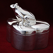 Sterling Silver Tiffany and Company Frog Box Made in Italy Solid Silver Cache With Gold Vermeil Interior