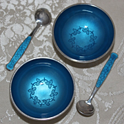 Pair of Sterling Salt Cellars by Meka of Denmark Vintage 1960's Aqua Guilloche over Solid Silver With Matching Spoons
