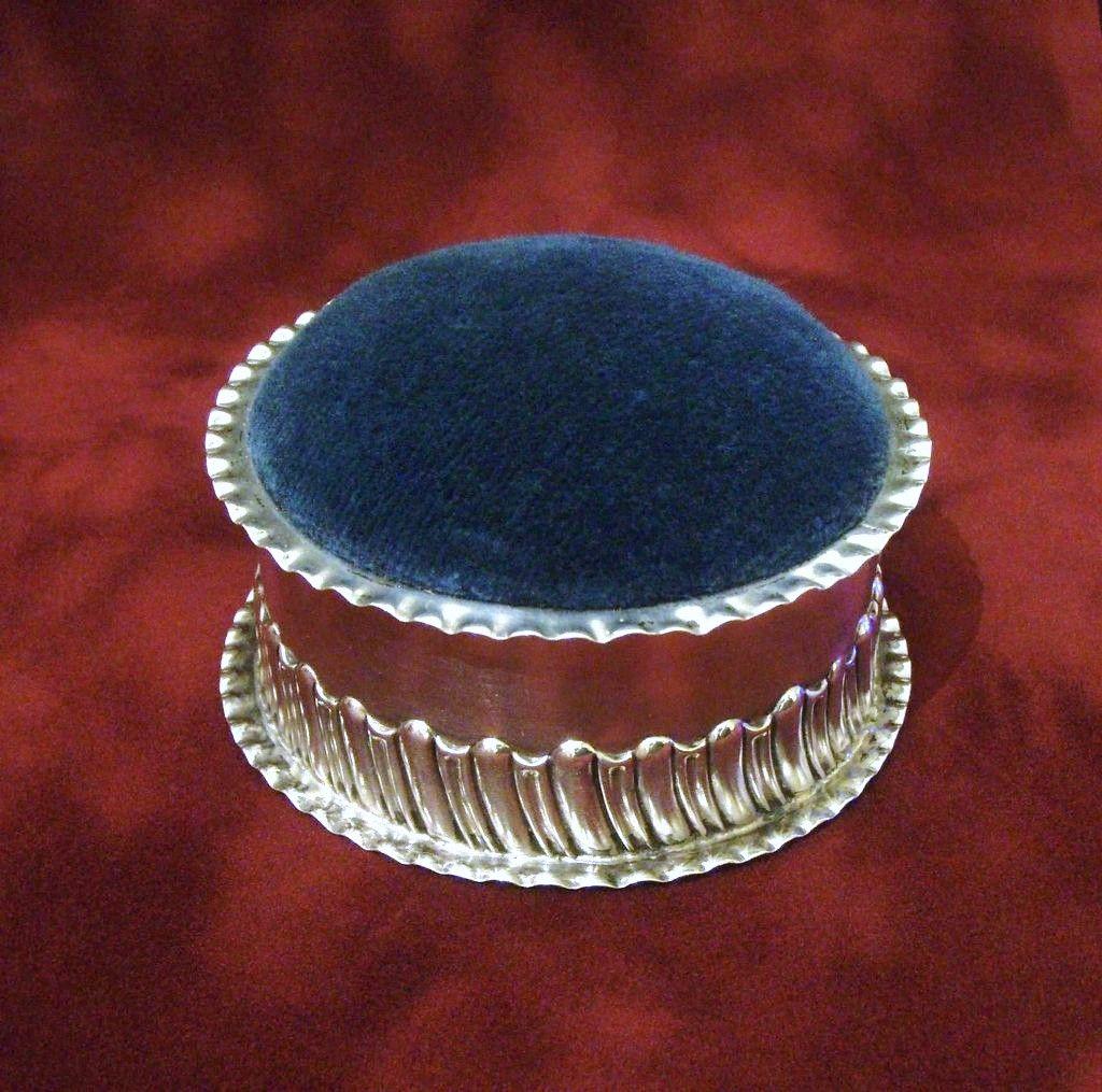 1896 British Sterling Pin Cushion, Solid Silver Stokes and Ireland Pincushion