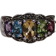 Exquisite Vintage Sterling Multi-Stone Ring Size 9