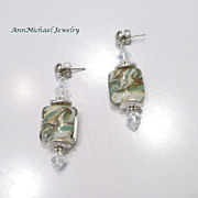 Artisan Celedon Green, Cream and Tan Swirl Lampwork Bead Earrings with Crystal Accents