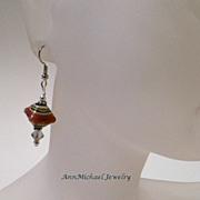 Desert Sands and Crystal Satin AB Lampwork Bead Earrings