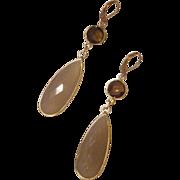 Faceted White Onyx Teardrops in Gold Vermeil Bezel Earrings