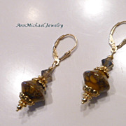 Artisan Golden Earthtone Lampwork Bead Earrings with Bronze Shade Crystal and Goldtone Accents