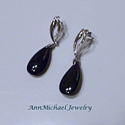 Jet Black Crystal and Rhinestone Accented Earrings