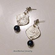 "Swarovski Tahitian Blue ""Crystal"" Pearl and Fine Silver Earrings"