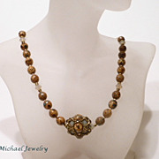 Woven Beaded Bead Desert Opal and Czech Picasso Necklace