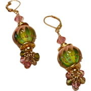 Watermelon Lampwork Bead Earrings