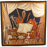 Lanvin Paris signed 100 % pure Silk twill Scarf Vintage 1960s colorful floral geometric print