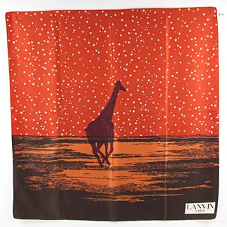 Lanvin Paris vintage 1960s silk scarf african giraffe colorful print