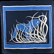 Gres Paris vintage silk scarf 1970s blue sea fish design print