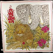 Salvatore Ferragamo 100% pure Silk Scarf vintage crepe de chine colorful animal and flowers print lion elephant jungle lush