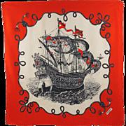 Yves Saint Laurent 100% pure Silk Scarf vintage crepe de chine colorful red black old sailing boat rope design