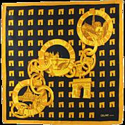 Celine Paris vintage 100 % pure Silk Scarf Paris Monuments Brand logo colorful gold black design print