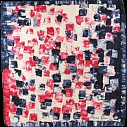 Nina Ricci Paris 100% pure Silk Scarf vintage 1960s abstract geometric colorful red blue print