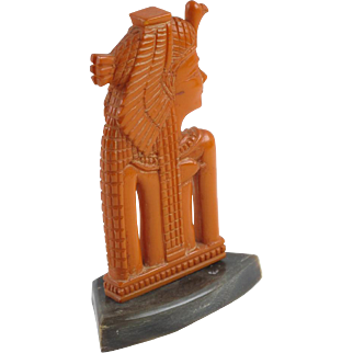 Extremely rare Vintage Catalin Bakelite Nefertiti Figurine butterscotch carved