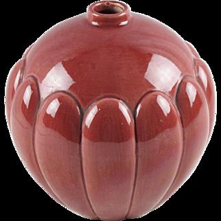 Vintage French Majolica St Clement Faience Vase cranberry glaze Keller & Guerin