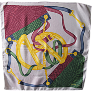 Celine Paris 100% pure Silk Scarf vintage colorful equestrian pattern print