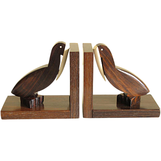 Vintage French Art Deco modernist Bookends Macassar Wood white Galalith Exotic Bird