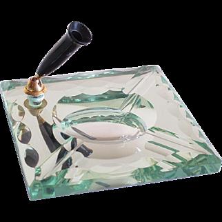Vintage Saint Gobain France modernist mirror pen holder ashtray desk tidy accessory